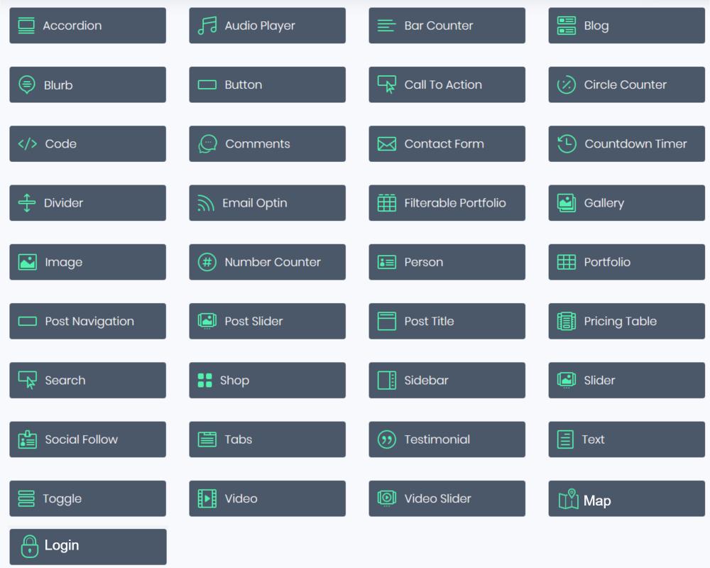 All the current Divi modules