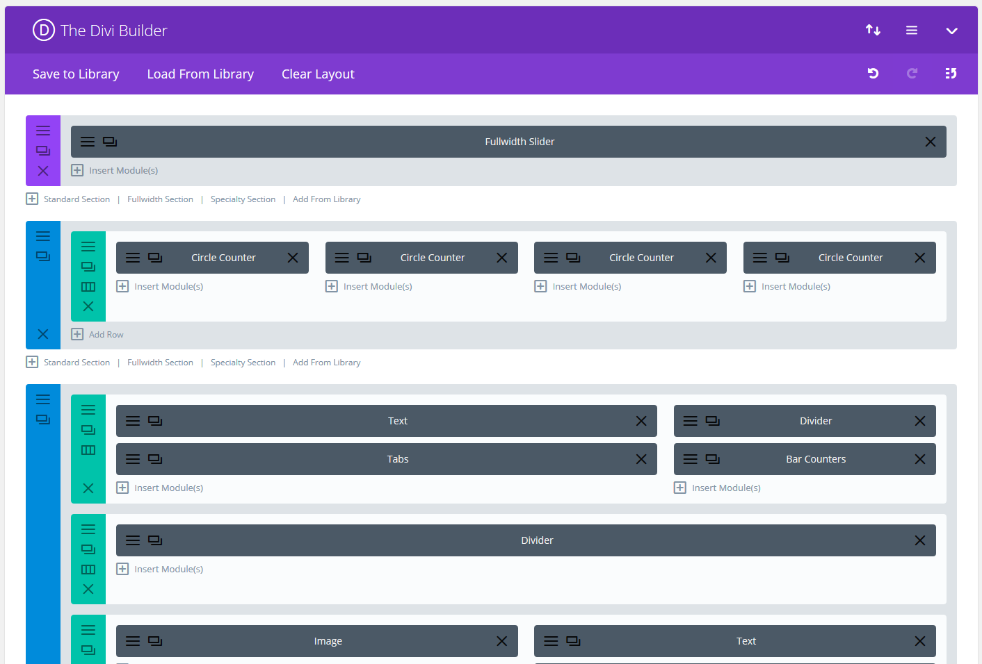 An example of a divi builder layout
