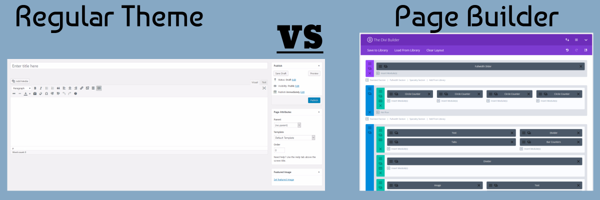 Divi page builder vs regular WP theme