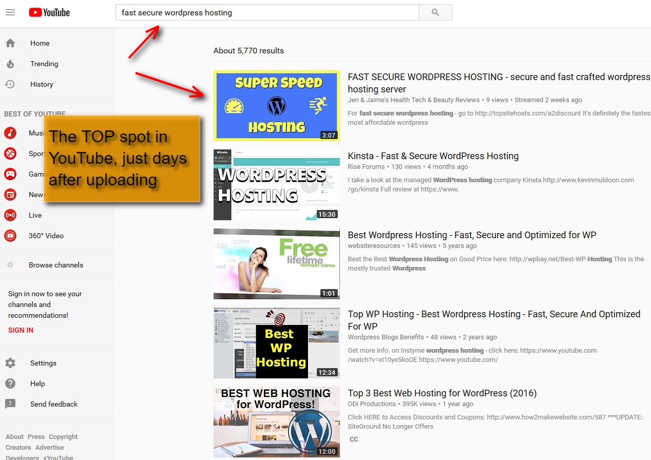 YouTube results after using Video Marketing Blaster pt 1