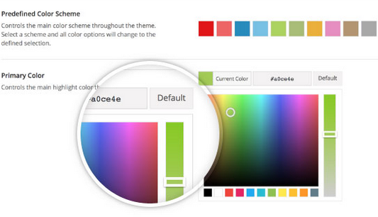 Unlimited color customization in the Avada theme